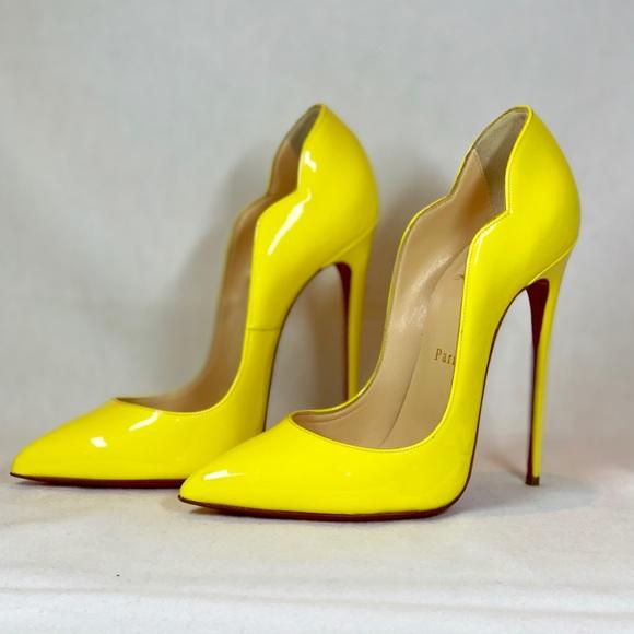 cheap for discount 43de3 a0d19 Christian Loubiton Hot Chick 130mm Yellow Heel